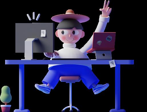 person on computer illustration