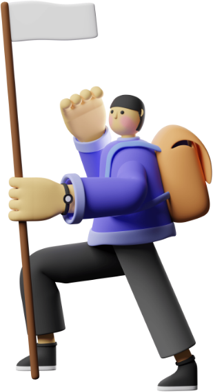 person reaching summit illustration