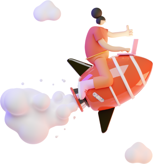 woman sat on rocket in clouds illustration
